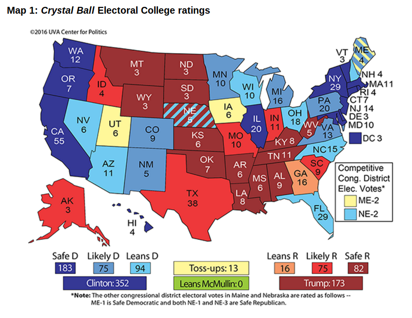 Crystal Ball Election map