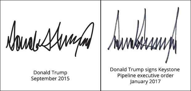Donald Trump signatures