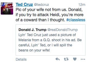 Trump tweet threatens Cruz