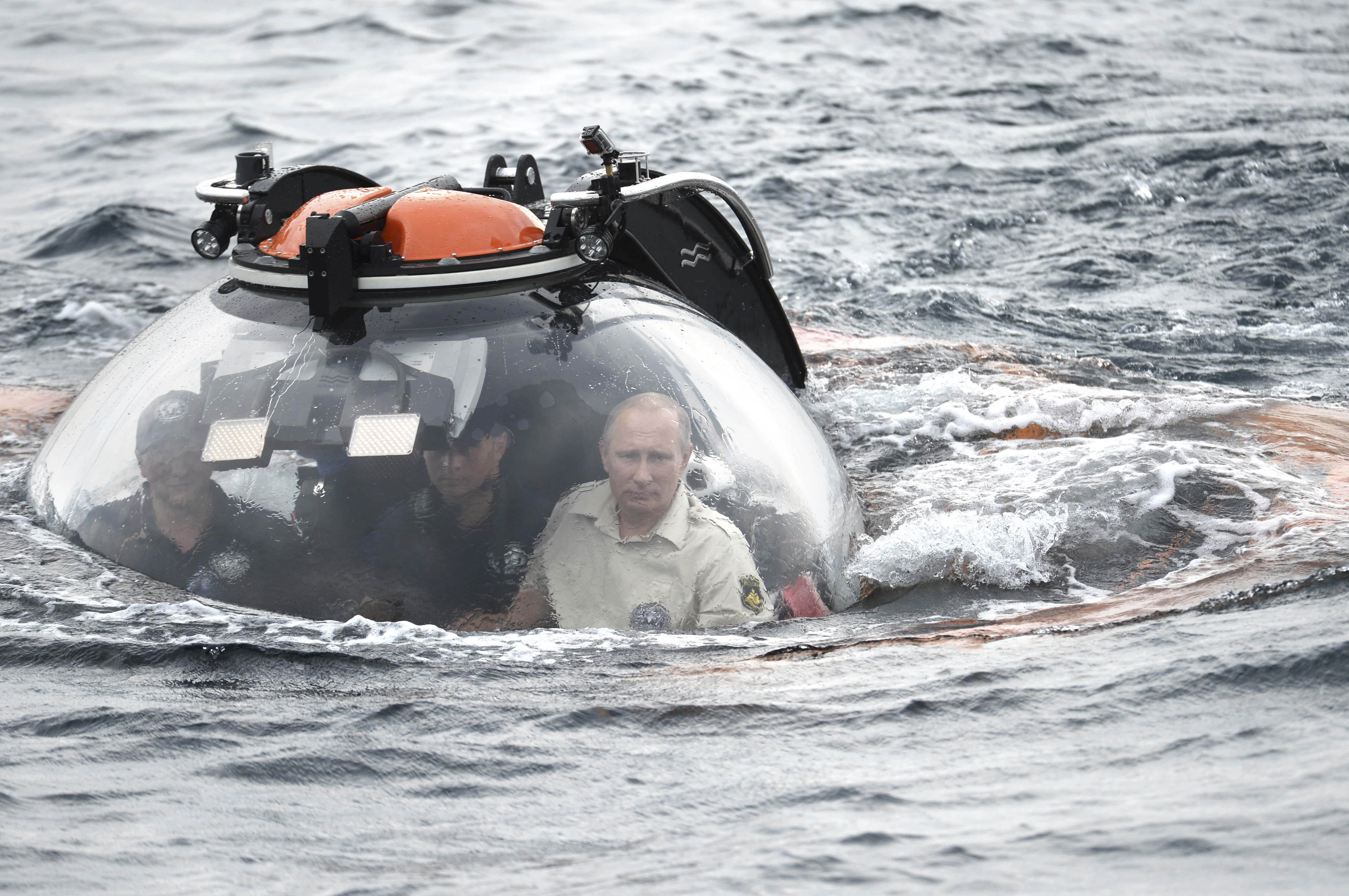 Russian President Putin is seen inside research bathyscaphe while submerging into waters of Black Sea near Sevastopol