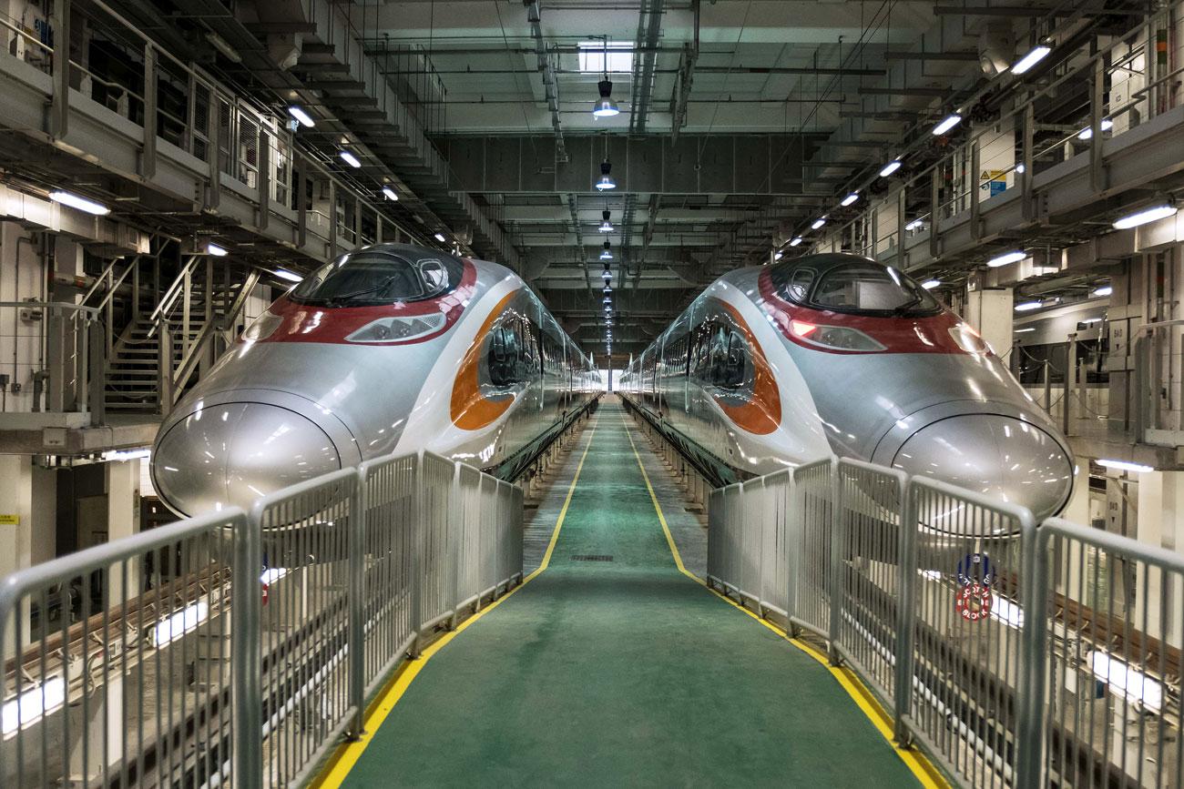 Two Guangzhou-Shenzhen-Hong Kong Express Rail Link (XRL) trains stand in Hong Kong