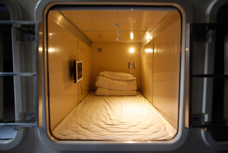 Weary travelers, take heart. At China's Xi'an Xianyang Int'l Airport, climb right into a sleeping box and snooze away in peace and quiet. The snug little boxes, which sit right on airport hallways, have a floor space of roughly 32 sq. feet and a height of