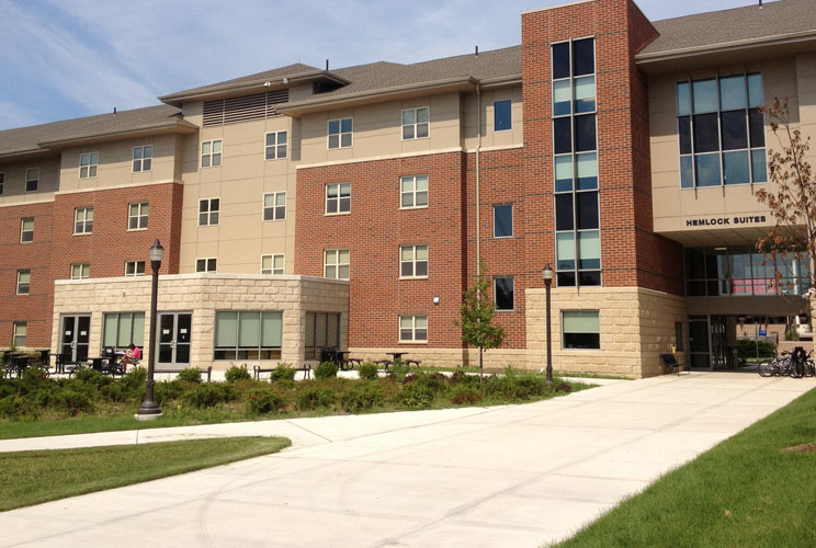 <p>This $74 million housing complex is brand new—it opened in January. Where the campus's older dorms have shared bathrooms for up to 50 students, the new suites each have their own bathrooms and up to four separate bedrooms, according to the Pocono Rec