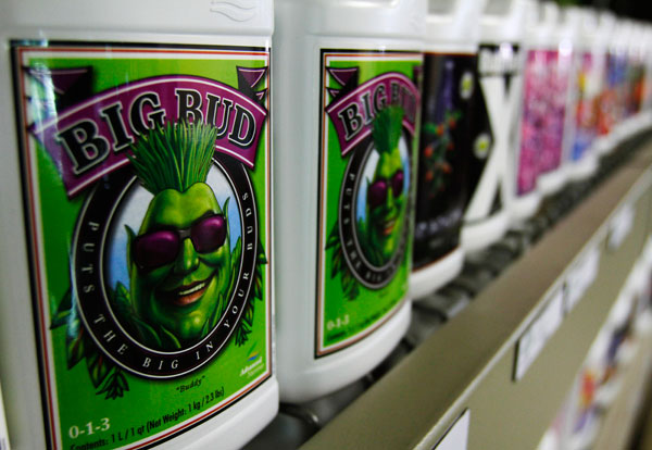 """<p class=""""p1"""">Bottles of nutrients for growing marijuana are displayed at the weGrow superstore-sized garden center in Phoenix, Arizona. The 21,000-square-foot (6,400 meter) store offers some 2,000 products, including soil, grow lights and irrigation tr"""