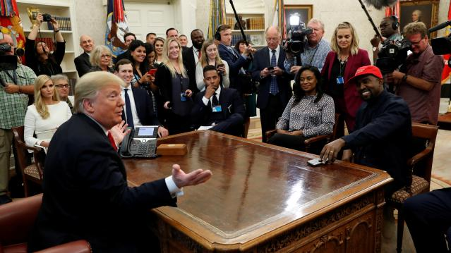 President Trump speaks during a meeting with rapper Kanye West in the Oval Office at the White House in Washington
