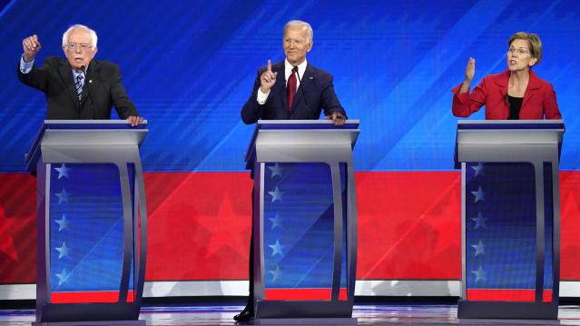 Senator Bernie Sanders, former Vice President Joe Biden and Senator Elizabeth Warren participate in the 2020 Democratic U.S. presidential debate in Houston