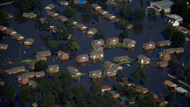 An aerial view shows a neighborhood that was flooded after Hurricane Matthew in Lumberton, North Carolina
