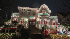 A house in the Dyker Heights neighborhood of Brooklyn is seen lit up with Christmas decorations in New York