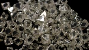 Uncut diamonds from southern Africa and Canada are seen at De Beers headquarters in London