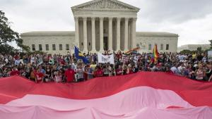 Supporters of gay marriage rally after the U.S. Supreme Court ruled that the U.S. Constitution provides same-sex couples the right to marry