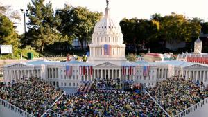 <p>More than a thousand four inch high mini-figures are shown on display as Legoland unveils a replica of the 56th presidential inauguration in Carlsbad, California January 16, 2009. President-elect Barack Obama his wife and family are shown at left as