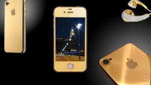 <p>Goldstriker International,a U.K. company, collaborated with designer Stuart Hughes to make the iPhone 4 Supreme Diamond Rose, a gold phone that sold for $8M.Only two were made, so the chance of seeingone in your stocking is remote. Try, instead,t