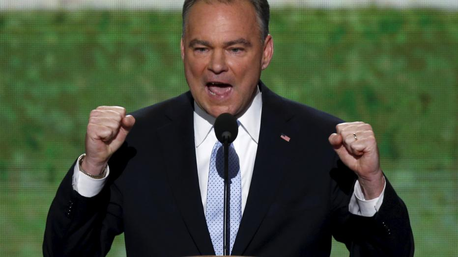 U.S. senatorial candidate and former Virginia Governor Tim Kaine addresses the first session of the Democratic National Convention in Charlotte