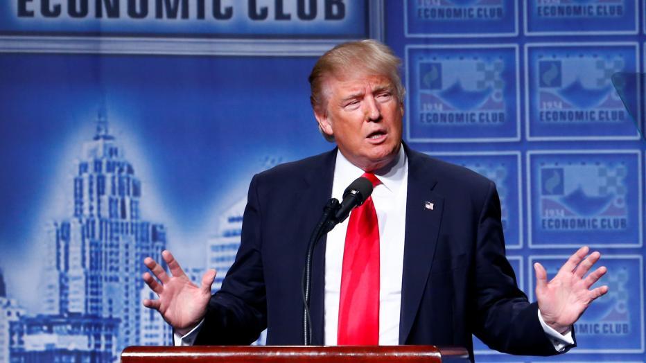 Republican U.S. presidential nominee Donald Trump speaks to the Detroit Economic Club at the Cobo Center in Detroit, Michigan