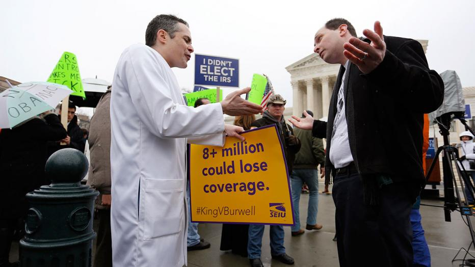 Fagel argues in favor of Obamacare with Kerpen in front of the Supreme Court building in Washington