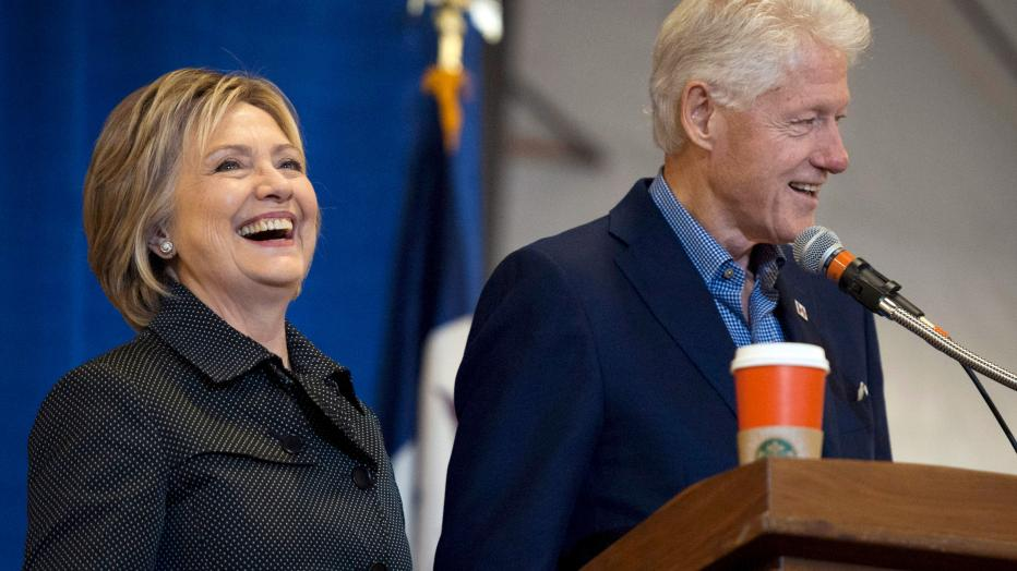Former President Clinton and Democratic U.S. presidential candidate Clinton at the Central Iowa Democrats Fall Barbecue in Ames, Iowa
