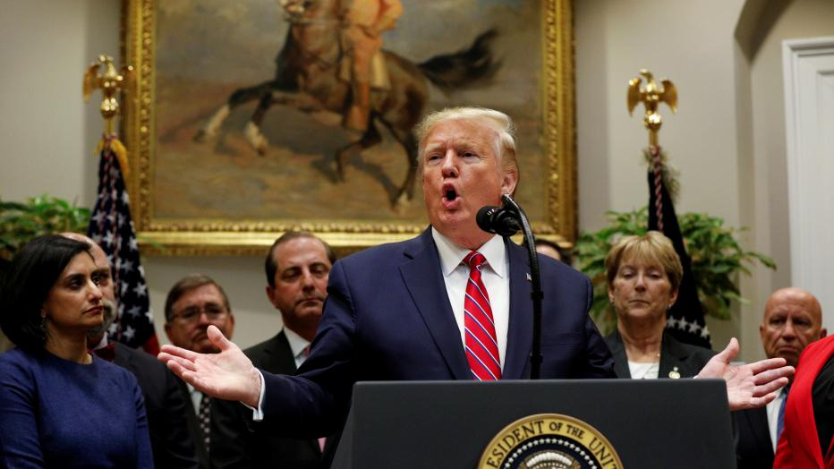 U.S. President Donald Trump delivers remarks on honesty and transparency in healthcare prices inside the Roosevelt Room at the White House in Washington