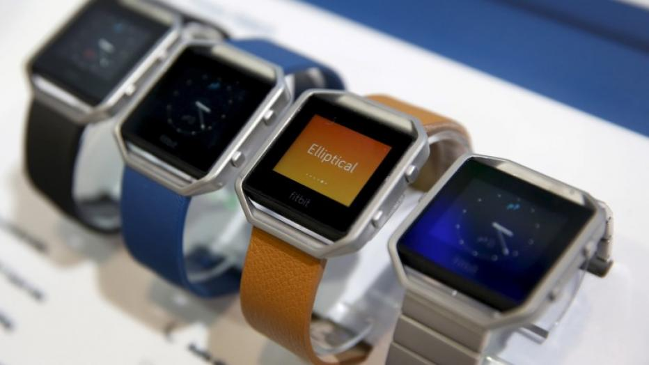 File photo of Fitbit Blaze watches displayed during the 2016 CES trade show in Las Vegas