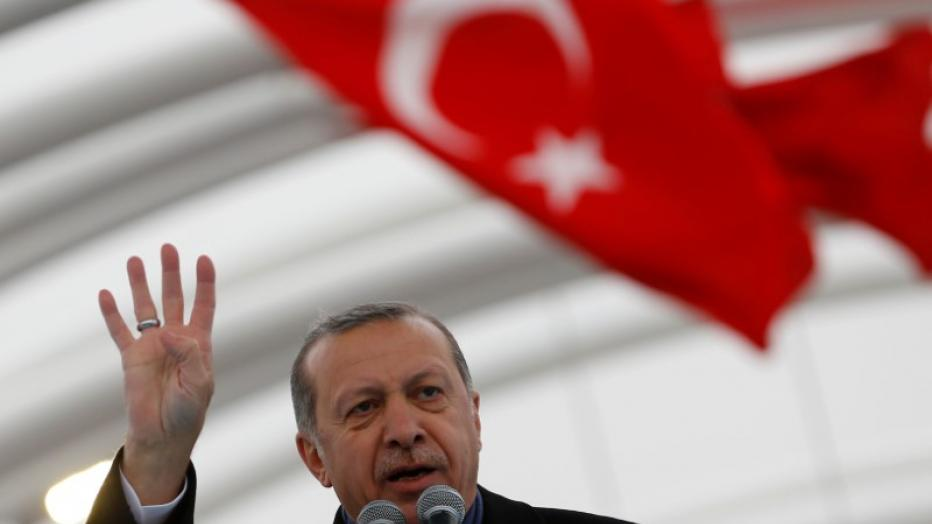 Turkish President Erdogan makes a speech during the opening ceremony of Eurasia Tunnel in Istanbul