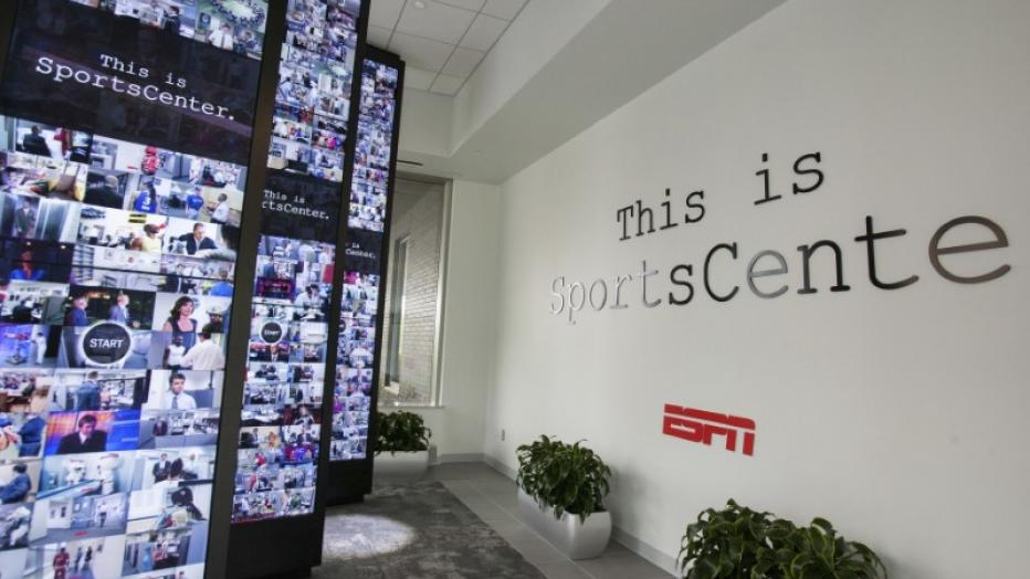 Interactive walls in the lobby of Digital Center 2, a new 194,000 sq. ft  building on the ESPN campus in Bristol