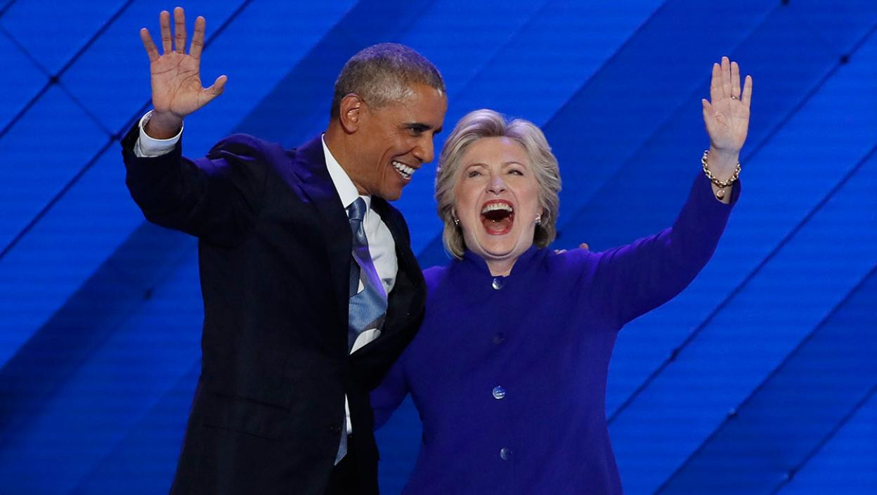 U.S. President Obama and Democratic presidential nominee Clinton appear onstage together after his speech on the third night at the Democratic National Convention in Philadelphia