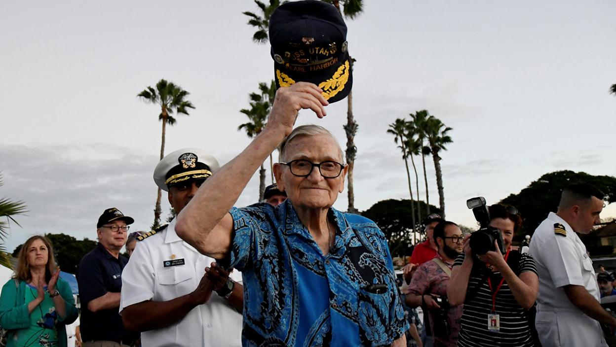 Pearl Harbor survivor Bill Hughes, who was aboard the USS Utah when it was attacked, arrives at a ceremony honoring the sailors of the USS Utah at the memorial on Ford Island at Pearl Harbor in Honolulu, Hawaii