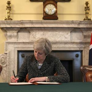 The Prime Minster Of the United Kingdom Theresa May Signs Article 50