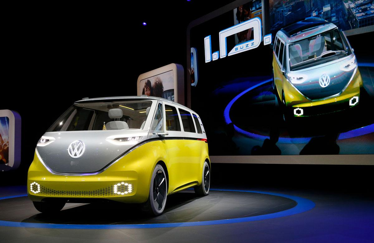 Volkswagen's electric I.D. Buzz concept vehicle is displayed during the North American International Auto Show in Detroit