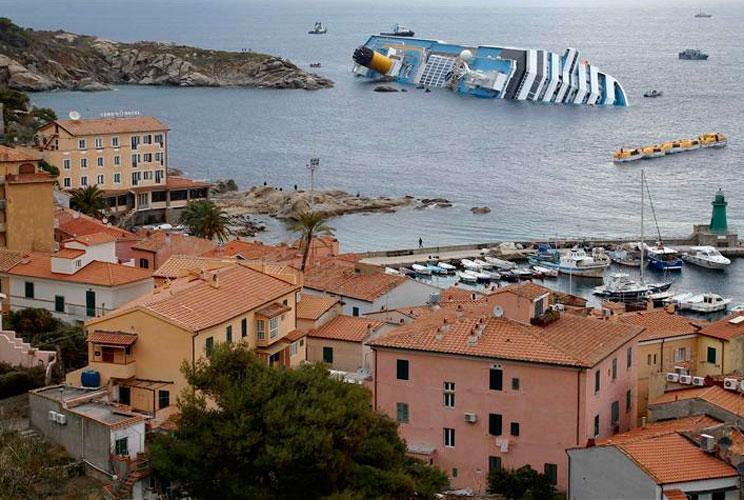 The Costa Concordia cruise ship capsized after being holed by a rock off the west coast of Italy, at Giglio island on Jan. 15.