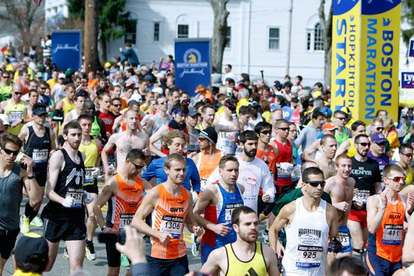 <p>On a clear spring day, the first wave of runners starts the 117th running of the Boston Marathon in Hopkinton, Massachusetts April 15, 2013. The event isin celebration of Patriot's Day, which is officially on April 19th.</p>