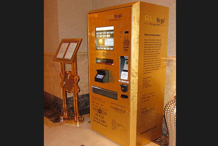 Gold to Go is designed to dispense items made of pure gold from automated banking vending machines. The first gold-plated vending machine, located in the lobby of the Emirates Palace hotel in Abu Dhabi, dispenses 320 items made of gold, including 10-gram