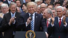 U.S. President Trump gathers with Republican House members after healthcare bill vote at the White House in Washington