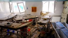 Hospital beds lay in the Medecins Sans Frontieres hospital in Kunduz, Afghanistan