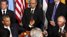 Putin and Obama attend luncheon at the United Nations General Assembly in New York