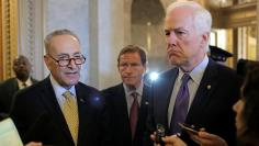 Senators Schumer, Blumenthal and Cornyn speak, on Capitol Hill in Washington