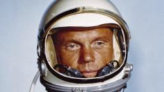 NASA photo of Astronaut John H. Glenn, Jr., in his Mercury flight suit