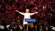 Democratic U.S. presidential candidate Hillary Clinton arrives to speak during her California primary night rally held in Brooklyn