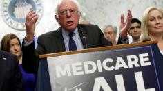 "Senator Bernie Sanders (I-VT) speaks during an event to introduce the ""Medicare for All Act of 2017\"