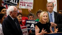 Democratic U.S. presidential candidate U.S. Sen. Kirsten Gillibrand (D-NY) speaks at a news conference alongside Sen. Bernie Sanders (I-VT) on Capitol Hill in Washington