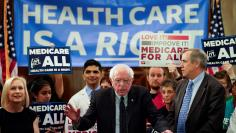Democratic U.S. presidential candidate U.S. Sen. Bernie Sanders (I-VT) speaks at a news conference on Capitol Hill in Washington