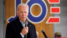 Democratic 2020 U.S. presidential candidate and former U.S. Vice President Joe Biden speaks during a meeting at Chickasaw Event Center in New Hampton, Iowa