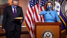 U.S. House Speaker Pelosi and Senate Democratic Leader Schumer speak to reporters during news conference on Capitol Hill in Washington