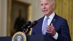 U.S. President Biden discusses administration efforts to lower drug prices in a speech at the White House in Washington