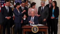 U.S. President Biden signs executive order on U.S. economy at the White House in Washington