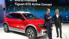 VW's Horn and Diess introduce the Volkswagen Tiguan GTE Active Concept car at the North American International Auto Show in Detroit