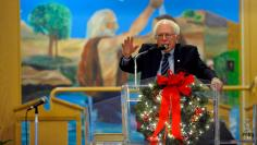 U.S. Democratic presidential candidate Sanders speaks about social justice issues while attending worship at Mount Carmel Baptist Church in Waterloo, Iowa