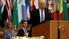 U.S. President Donald Trump delivers a speech during Arab-Islamic-American Summit in Riyadh