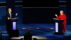 Republican U.S. presidential nominee Trump and Democratic presidential nominee Clinton speak during first presidential debate at Hofstra University in Hempstead