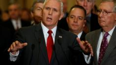 Pence and Priebus join McConnell to speak with reporters after the weekly Republican caucus luncheon at the U.S. Capitol on Washington