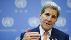 U.S. Secretary of State Kerry speaks to the media during a news conference at the United Nations Headquarters in Manhattan, New York